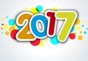 Colorful 2017 sticker sign