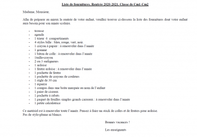 Liste cm1 cm2